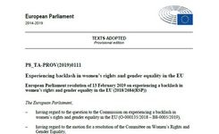 EU Parliament - Resolution on Experiencing Backlash in Women's Rights & Gender Equality in the EU
