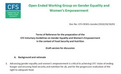 Food, Gender Equality, & Women's Empowerment - Draft in Process for FAO+
