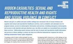 Hidden Casualties: Sexual & Reproductive Health & Rights & Sexual Violence in Conflict