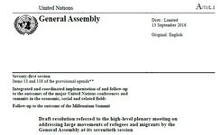 New York Declaration for Refugees & Migrants - UN General Assembly 2016 - Gender