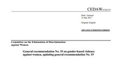 CEDAW Committee General Recommendation No. 35 on Gender-Based Violence Against Women, Updating General Recommendation No. 19