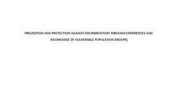 Prevention and protection against discrimination through experiences and knowledge of vulnerable population groups