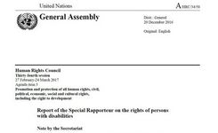 Special Rapporteur on the Rights of Persons with Disabilities Report for the UN Human Rights Council 2017 - Women & Girls with Disabilities