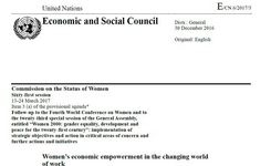 Women's Economic Empowerment in the Changing World - Report of UN Secretary-General
