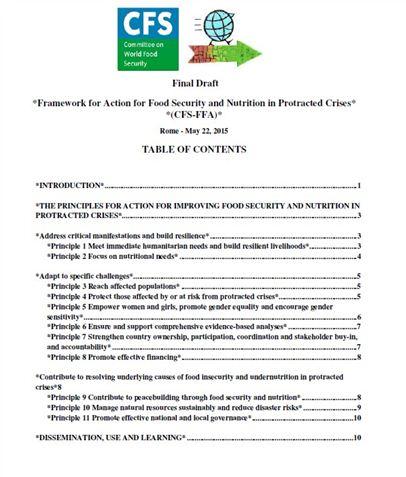 Association ESE - Framework for Action for Food Security